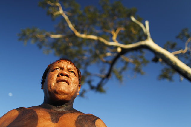 "Yawalapiti chief Aritana oversees the preparations for the celebration of ""quarup"", a ritual held to honor in death a person of great importance to them, in the Xingu National Park, Mato Grosso State, May 9, 2012. (Photo by Ueslei Marcelino/Reuters)"