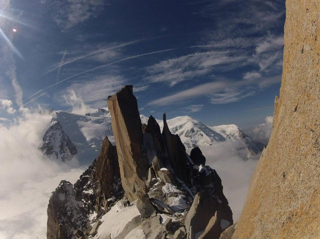 """Arête des Cosmiques by Dominik Schmeer. The view from Arête des Cosmiques to Mont Blanc"". (Photo by Dominik Schmeer)"