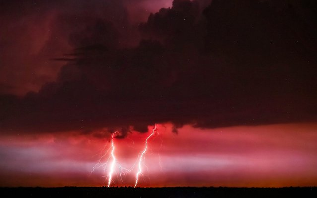 A lightning is seen above the city of Plock, in central Poland, 14 June 2019. A very hot weather is going through Poland with temperatures of more than 30 degrees Celsius. The high temperatures cause heavy and dangerous storms. (Photo by Piotr Augustyniak/EPA/EFE)