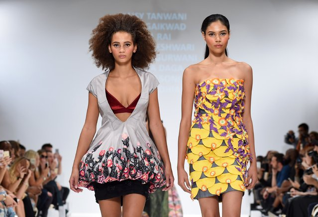 Models walk the runway at the INIFD-LST show at Fashion Scout during London Fashion Week Spring/Summer collections 2017 on September 17, 2016 in London, United Kingdom. (Photo by Tabatha Fireman/Getty Images)