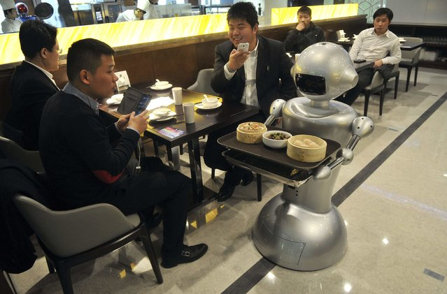A robot delivers dishes at a restaurant in Hefei, Anhui province, December 26, 2014. (Photo by Reuters/Stringer)