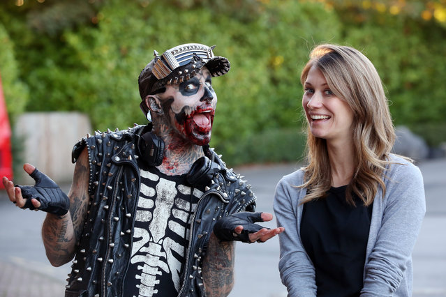 Zombie Boy (a heavily tattooed model) pictured at Thorpe Park in Surrey, England October 3, 2016, ahead of Fright Nights with Sun Journalist Amy Jones. (Photo by Oliver Dixon/The Sun)