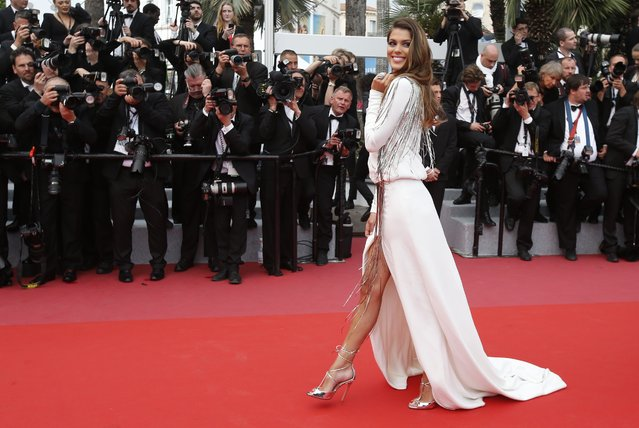 Iris Mittenaere arrives arrives for the screening of the film Sorry Angel (Plaire, aimer et courir vite) May 10, 2018 during the 71st annual Cannes Film Festival in Cannes, France. (Photo by Jean-Paul Pelissier/Reuters)