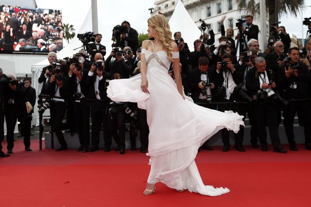 """Dutch model Daphne Groeneveld attends the screening of """"Blackkklansman"""" during the 71st annual Cannes Film Festival at Palais des Festivals on May 14, 2018 in Cannes, France. (Photo by Ian Langsdon/EPA/EFE/Rex Features/Shutterstock)"""