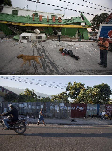 This combo of two photos shows a January 12, 2010 file photo, top, of the Twins Market the day it collapsed during a 7.0 earthquake that struck Port-au-Prince, Haiti, and a photo taken from the same spot five years later, on January 10, 2015. (Photo by Cris Bierrenbach/Dieu Nalio Chery/AP Photo)