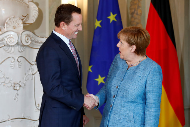 German Chancellor Angela Merkel receives the ambassador of U.S. to Germany, Richard Grenell, in Meseberg, Germany July 6, 2018. (Photo by Axel Schmidt/Reuters)