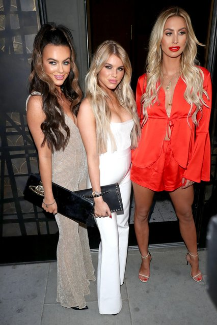 UK Love Island stars Hayley Hughes and Rosie Williams looked stunning as they arrived at ITV's summer party with Ferne McCann at Nobu Hotel in Shoreditch on July 19, 2018 in London, England. (Photo by Beretta/Sims/Rex Features/Shutterstock)