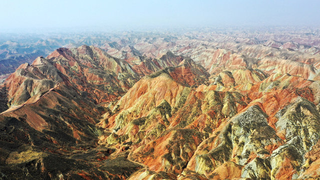Aerial photo taken on April 5, 2021 shows a view of Lanzhou Shuimo Danxia Scenic Spot soon to be opened to tourists in Lanzhou, northwest China's Gansu Province. (Photo by Chine Nouvelle/SIPA Press/Rex Features/Shutterstock)