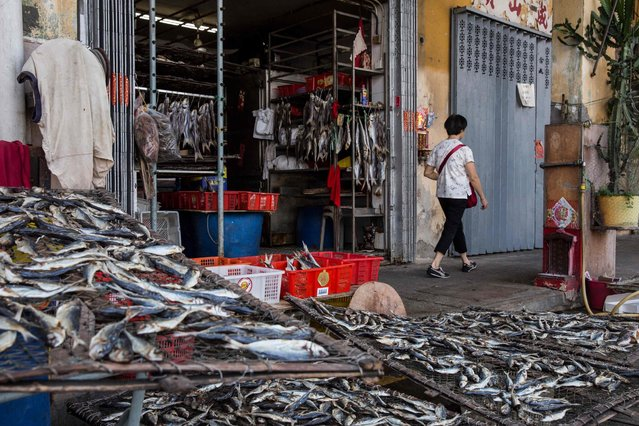 A pedestrian (R) walks past a shop selling dried fish before the expected arrival of Super Typhoon Mangkhut in Macau on September 15, 2018. (Photo by Isaac Lawrence/AFP Photo)