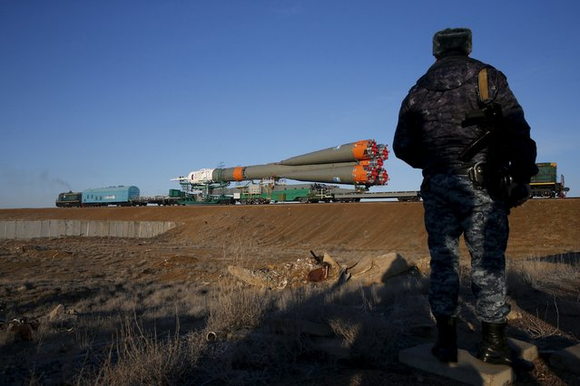 The Soyuz TMA-16M spacecraft is transported to its launch pad at the Baikonur cosmodrome March 25, 2015. (Photo by Maxim Zmeyev/Reuters)