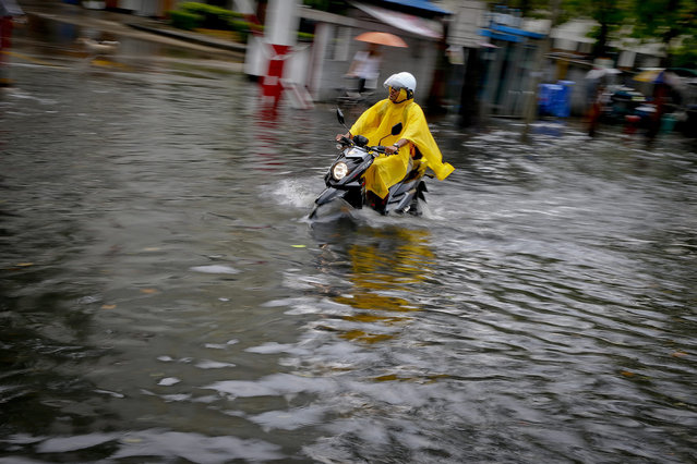 A motorist makes his way through a flooded street during a heavy downpour in Bangkok, Thailand, 24 March 2015. Thailand's capital saw heavy thunderstorms caused by high pressure in China, prompting Thailand's Meteorological Department to warn citizens to beware of the severe weather conditions and stay safe. (Photo by Diego Azubel/EPA)