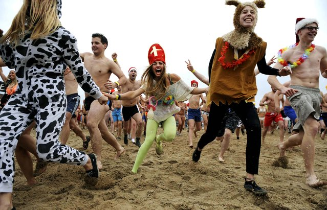 People rub into the water as they take their first bath in the North Sea to celebrate the arrival of the new year, in Ostende, Belgium, on January 4, 2014. About a thousand people took part in this annual tradition that takes place on the first Saturday of the new year. (Photo by Laurent Dubrule/Reuters)