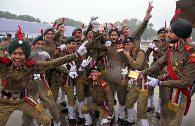 Cadets from the National Cadet Corps (NCC) celebrate after being awarded the second place in a marching competition during the Republic Day parade in Chandigarh, India January 26, 2017. (Photo by Ajay Verma/Reuters)