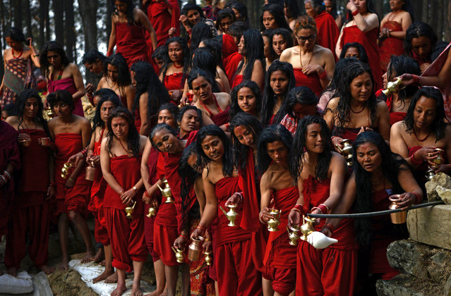 Nepalese Hindu devotees prepare to take part in a mass bathing ritual during the month-long Swasthani Festival in Changu Narayan at Bhaktapur, on the outskirts of Kathmandu on February 8, 2017. Hundreds of married and unmarried women in the Himalayan nation are marking the month-long fast in the hope of a prosperous life and conjugal happiness. (Photo by Prakash Mathema/AFP Photo)