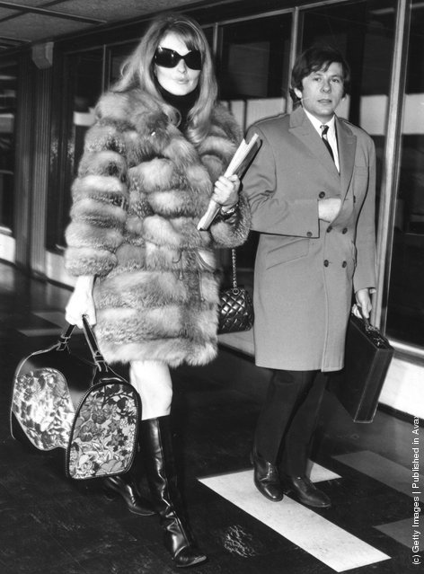 1967: Polish filmmaker and actor Roman Polanski with his second wife-to-be Sharon Tate at London Airport