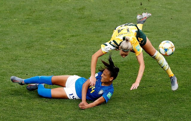 Brazil's Kathellen in action with Australia's Alanna Kennedy during the Australia vs Brazil, Group C match at the FIFA Women's World Cup at Stade La Mosson Stadium on June 13th 2019 in Montpellier, France. (Photo by Eric Gaillard/Reuters)