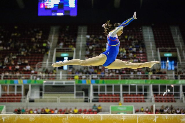Belarussian Kylie Rae Dickson in action during the team classificatory contest at the Artistic Gymnastics Pre-Olympic championships held in Rio de Janeiro, Brazil, 17 April 2016. (Photo by Gustavo Oliveira/EPA)