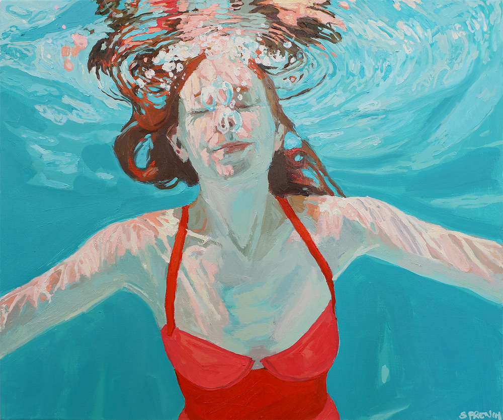 underwater painting of people by houston - 1000×834