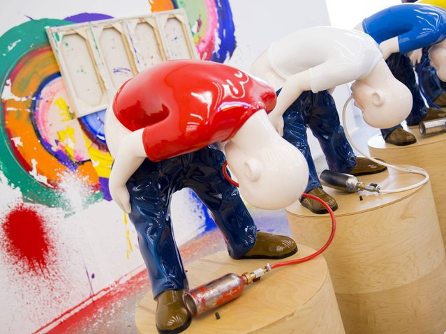 """Pain-t"" (detail) by artist Richard Jackson features in his new exhibition, Richard Jackson: New Paintings, at Hauser & Wirth on May 19, 2014 in London, England. (Photo by Tristan Fewings/Getty Images for Hauser & Wirth)"
