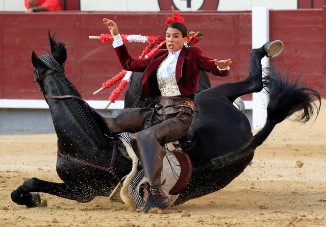 French mounted bullfighter Lea Vicens is gored by her first bull and falls off her horse during the 31st day of the San Isidro bullfighting festival at Las Ventas bullring in Madrid, Spain, 10 June 2017. (Photo by Victor Lerena/EPA)