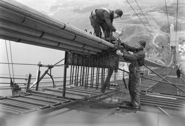 Workers on the catwalks bundling the cables during the construction of the cables of the Golden Gate Bridge, San Francisco, California, circa 1936. (Photo by Underwood Archives/Getty Images)