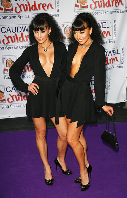 """The Cheeky Girls Gabriella Irimia and Monica Irimia arrive for the Caudwell Children """"The Legends Ball"""" at Battersea Evolution on May 8, 2008 in London, England.  (Photo by Gareth Cattermole/Getty Images)"""