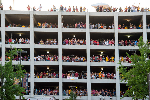 Fans fill a parking garage with in view of Quicken Loans Arena during the Cleveland Cavaliers NBA Finals Game Seven watch party on June 19, 2016 in Cleveland, Ohio. (Photo by Jason Miller/Getty Images)