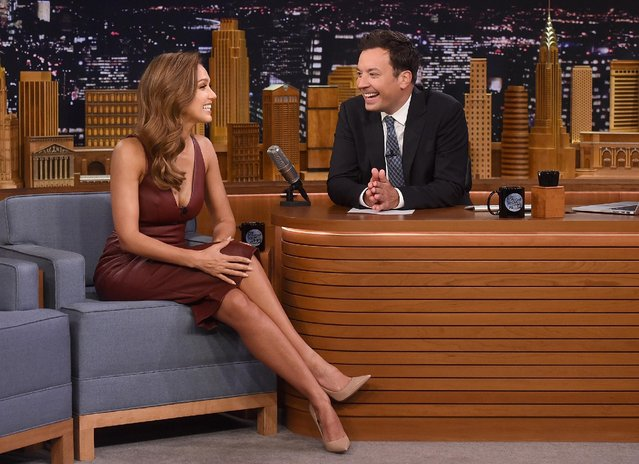 "Jessica Alba and host Jimmy Fallon during a segment on ""The Tonight Show Starring Jimmy Fallon"" at Rockefeller Center on August 25, 2016 in New York City. (Photo by Jamie McCarthy/Getty Images for NBC)"