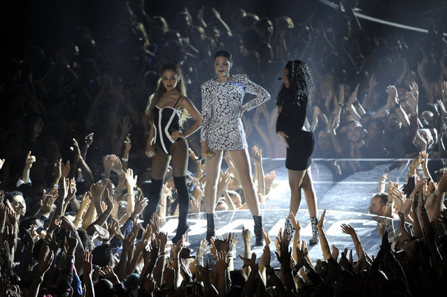 Ariana Grande, from left, Jessie J and Nicki Minaj perform at the MTV Video Music Awards at The Forum on Sunday, August 24, 2014, in Inglewood, Calif. (Photo by Chris Pizzello/Invision/AP Photo)