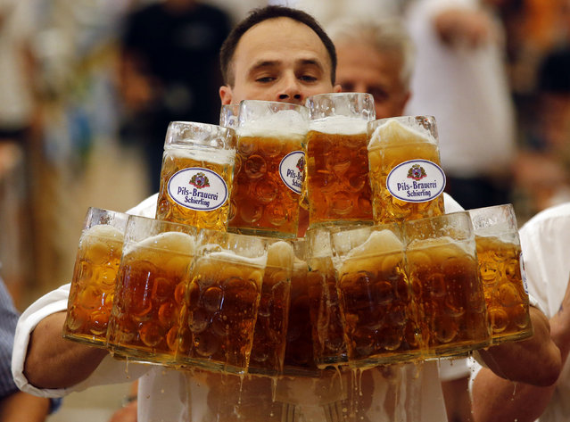German Oliver Struempfl competes to set a new world record in carrying one liter beer mugs over a distance of 40 m (131 ft 3 in) in Abensberg September 7, 2014. Struempfl carried 27 mugs over 40 meters  to set a new record for the Guinness book of records. (Photo by Michael Dalder/Reuters)