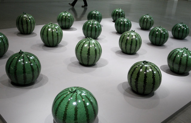 """A creation named """"Watermelon"""" by Chinese artist Ai Weiwei is displayed during a media preview of the """"Ai Weiwei Absent"""" exhibition in Taipei October 28, 2011. (Photo by Pichi Chuang/Reuters)"""