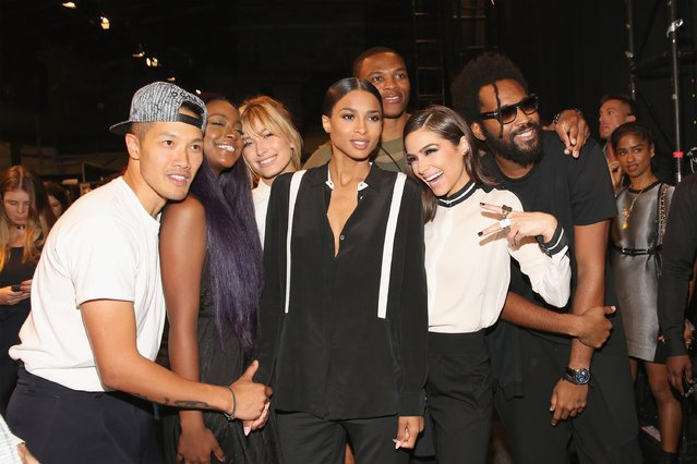 (L-R) Dao-Yi Chow,  Justine Skye, Hailey Baldwin, Ciara, Russell Westbrook, Olivia Culpo and Maxwell Osborne pose backstage after the Public School fashion show during Spring 2016 New York Fashion Week: The Shows at The Arc, Skylight at Moynihan Station on September 13, 2015 in New York City. (Photo by Mireya Acierto/Getty Images)