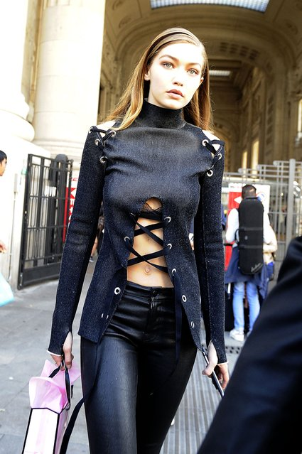Gigi Hadid is seen shopping at the Victoria's Secret store during Milan Fashion Week in Milan, Italy on September 24, 2016. (Photo by FameFlynet UK)
