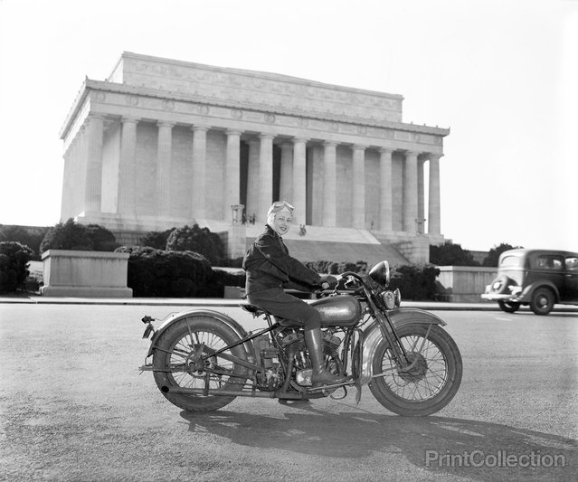 """Washington, D.C., September 15, 1937. Although she weights only 88 pounds – one-third of the machine she rides, Mrs. Sally Halterman is the first woman to be granted a license to operate a motorcycle in the District of Columbia. She is 27 years old and 4 feet, 11 inches tall. Immediately after receiving her permit, Mrs. Halterman was initiated into the D.C. Motorcycle Club – the only girl ever to be accorded this honor"". Photographed by Harris & Ewing."