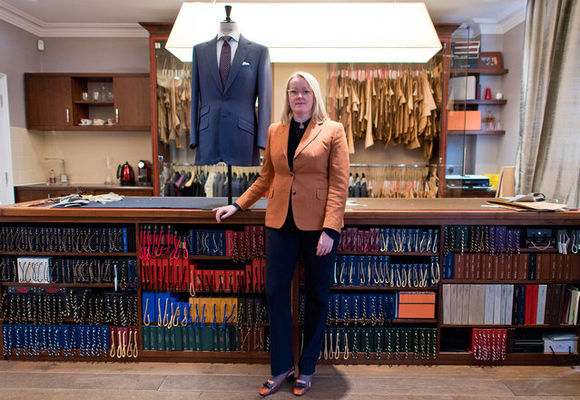 Master tailor Kathryn Sargent poses for a portrait in her shop in central London, United Kingdom on February 23, 2018. (Photo by Justin Tallis/AFP Photo)