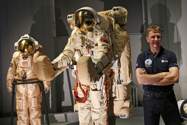 British astronaut Tim Peake poses before a news conference at the Science Museum in London, Britain November 6, 2015. Peake will be the first British astronaut to visit the International Space Station, in a European Space Agency mission due to be launched in December. (Photo by Stefan Wermuth/Reuters)