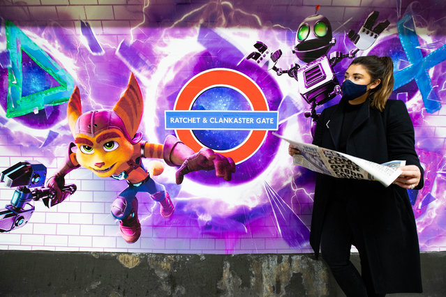 "Lancaster Gate station displays signage after being rebranded ""Ratchet and Clankaster Gate"" as the PS5 goes on sale in the UK, on November 19, 2020 in London, England. The first generational upgrade to Sony's line of Playstation consoles since 2013, the launch has seen pre-orders sell out within hours and websites crash as retailers attempt to keep up with demand. (Photo by Alex Davidson/Getty Images)"
