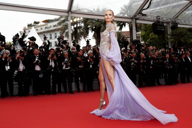 """Model Natasha Poly attends the screening of """"Blackkklansman"""" during the 71st annual Cannes Film Festival at Palais des Festivals on May 14, 2018 in Cannes, France. (Photo by Ian Langsdon/EPA/EFE/Rex Features/Shutterstock)"""