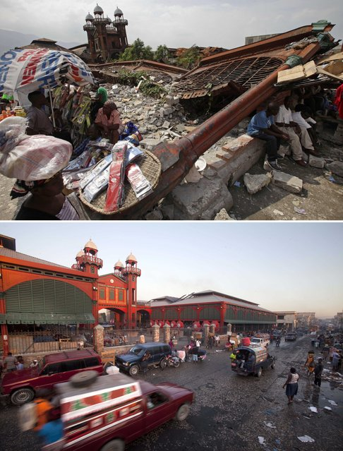 This combo of two photos shows a February 15, 2010 file photo, top, of people selling goods outside the ruins of the old Iron Market, a month after it was destroyed by a powerful earthquake that struck Port-au-Prince, Haiti, and photo taken almost five years later on January 10, 2015, showing the market which was rebuilt by Haiti's biggest employer, mobile phone company Digicel. (Photo by Dario Lopez-Mills/Dieu Nalio Chery/AP Photo)