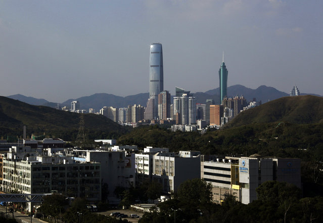 13: The KK100, or Kingkey 100, in Shenzhen, China. Height: 1,449 ft. (Photo by Bobby Yip/Reuters)