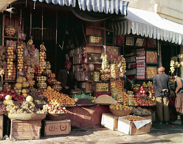 A shopfront display of fruits and nuts in Kabul, in November of 1961. (Photo by Henry S. Bradsher/AP Photo via The Atlantic)