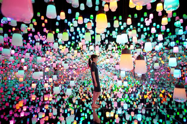 Inside the new Digital Art Museum in Tokyo, Japan on June 21, 2018. (Photo by South West News Service)