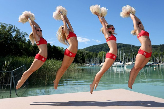 The Eskimo Girls warm up ahead of the beach volleyball CEV European Championship in Klagenfurt, Austria, on July 31, 2013. (Photo by Imago/Barcroft)