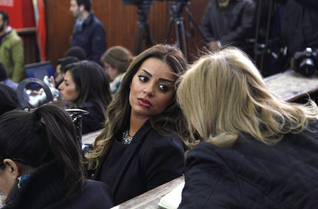 Marwa Omara, fiancee of Al Jazeera journalist Mohamed Fahmy, speaks to journalists at a court in Cairo, February 12, 2015. The two remaining Al Jazeera journalists, Mohamed Fahmy and Baher Mohamed, were released from an Egyptian jail on Thursday after more than 400 days, but the court said the case against them was still pending. (Photo by Asmaa Waguih/Reuters)