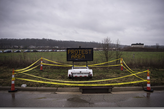 A designated protest area is seen before republican presidential candidate Donald Trump speaks at a campaign event at the Savannah Center in West Chester, Ohio on Sunday March 13, 2016. (Photo by Jabin Botsford/The Washington Post)