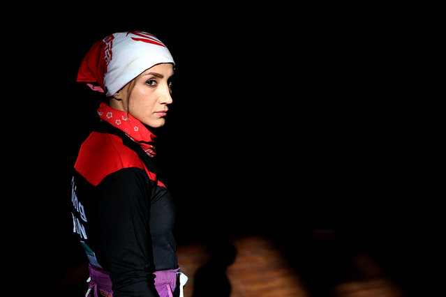 In this Monday, January 18, 2016 photo, shows Farnaz Esmaeilzadeh, Iranian rock climber and member of the women's national climbing team, in a rock climbing gym in the city of Zanjan, some 330 kilometers (207 miles) west of the capital Tehran, Iran. (Photo by Ebrahim Noroozi/AP Photo)