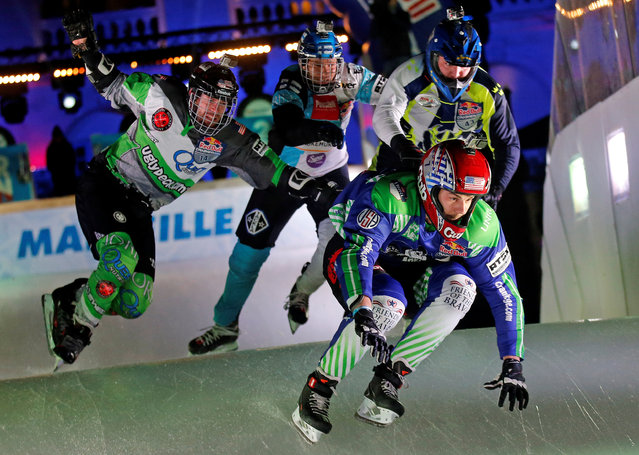 Competitors take part in the Red Bull Crashed Ice Cross Downhill World Championship in Marseille, France, January 14, 2017. (Photo by Jean-Paul Pelissier/Reuters)