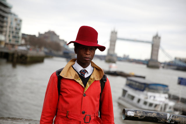 Fashion blogger Zokaya Kamara poses for a portrait during London Fashion Week in London, Britain February 19, 2017. (Photo by Neil Hall/Reuters)