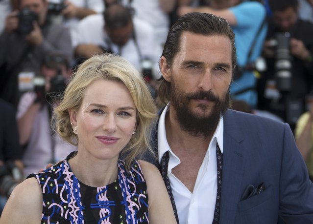 "Cast members Naomi Watts (L) and Matthew McConaughey pose during a photocall for the film ""The Sea of Trees"" in competition at the 68th Cannes Film Festival in Cannes, southern France, May 16, 2015. (Photo by Yves Herman/Reuters)"