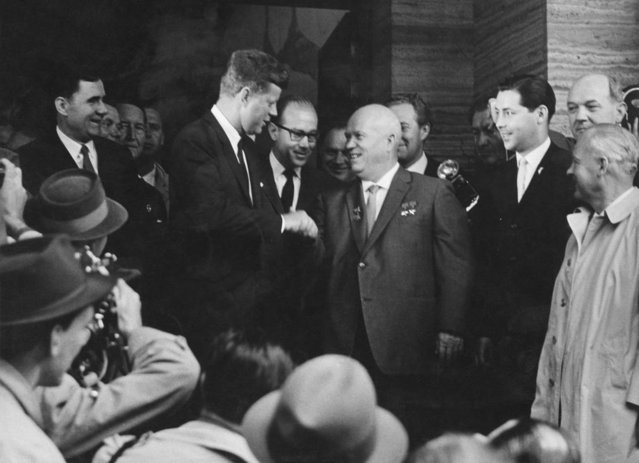 US President John F Kennedy shakes hands with Soviet premier Nikita Khrushchev at the Vienna Summit, Austria, June 4, 1961. (Photo by Pictorial Parade/Archive Photos/Getty Images)